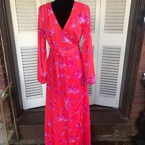 Gianni Bini dress maxi wrap floral pink M summer